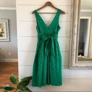 Eliza J Green Embroidered Midi Dress - Size 4